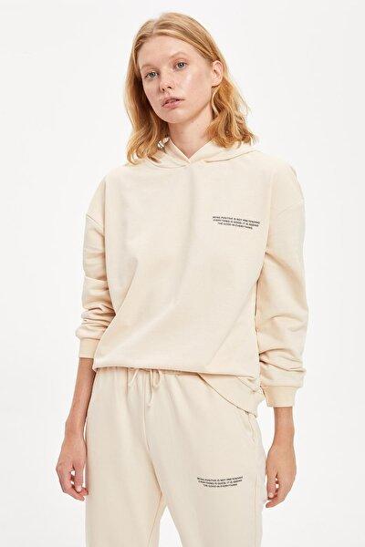 Kadın Stone Yazı Baskılı Kapüşonlu Sporcu Sweatshirt S1114AZ20AU