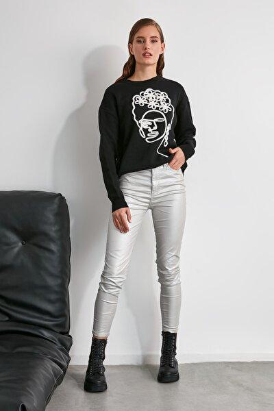 Gümüş Kaplamalı Yüksek Bel Skinny Jeans TWOAW21JE0349