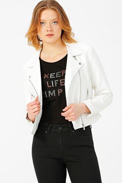 Kadın Beyaz Motorcu Stil Suni Deri Ceket 15180324 ONLENYA