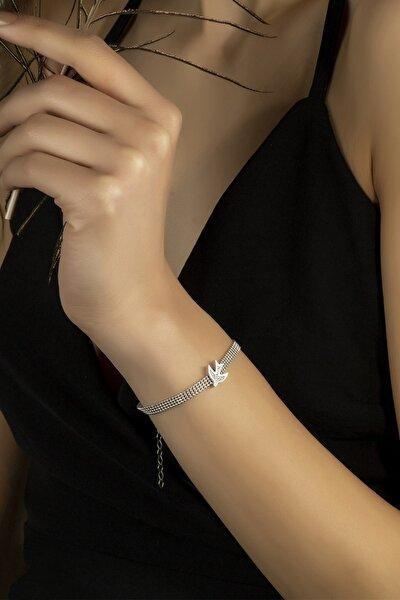Gümüş Bileklik Swarovskı Taşlı Kırlangıç Temalı Bileklik