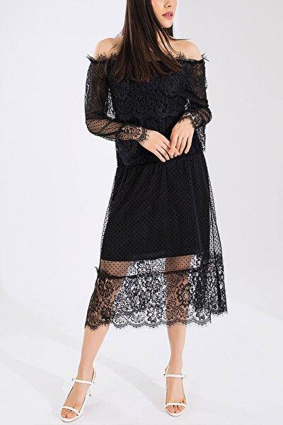 Kadın Siyah Madonna Yaka Güpür Detay Büyük Beden Elbise