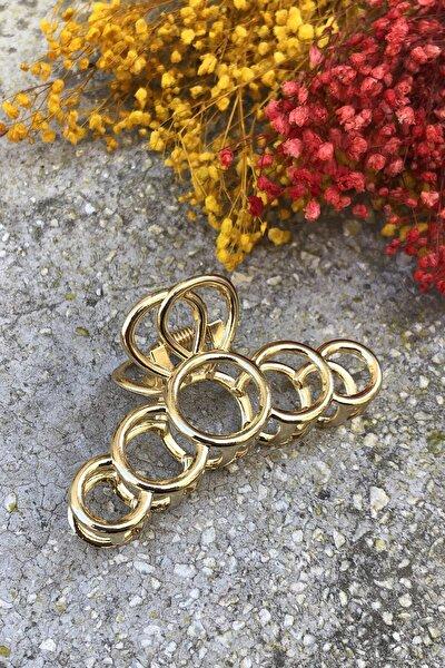 Kadın Halka Detaylı Metal Mandal Toka Gold