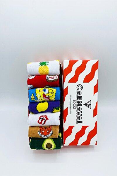 Carnaval-2 Desenli Renkli Tasarım Çorap Seti