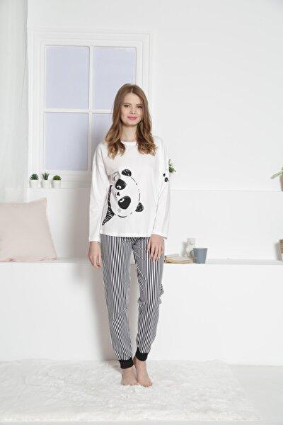 Kadın Beyaz Siyah Şeritli Vienatta Pijama Takım