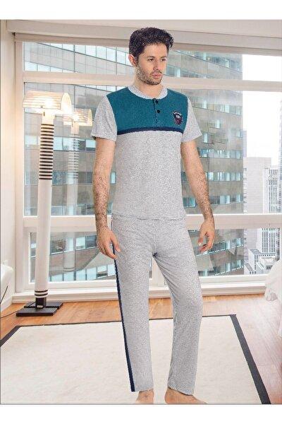 Erkek Mavi Gri Kısa Kol Düğmeli Bisiklet Yaka Pijama Takımı