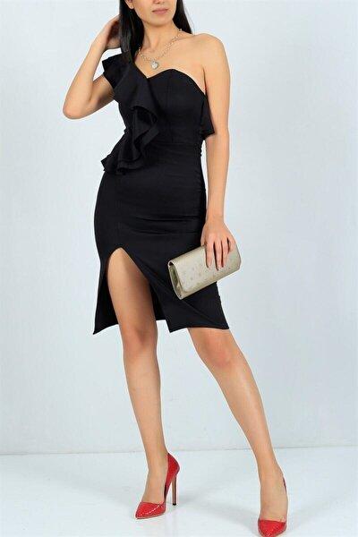 Kadın Siyah Esnek Kumaş Tek Omuz Fırfır Ve Yırtmaç Detaylı Abiye Elbise