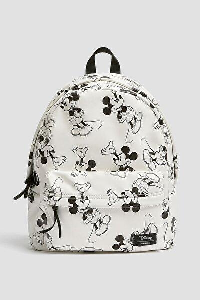 Kadın Beyaz Mickey Mouse Desenli Sırt Çantası 14051640