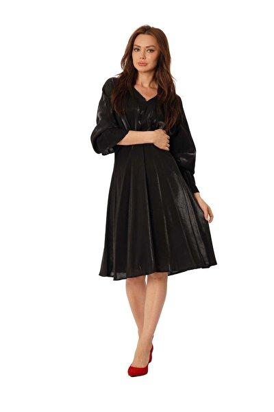 Önleri Büzgülü Detaylı Elbise Y-5904 Siyah