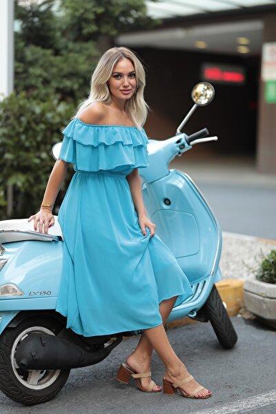 Kadın Mavi Madonna Yaka Şifon Elbise Kb3283bm