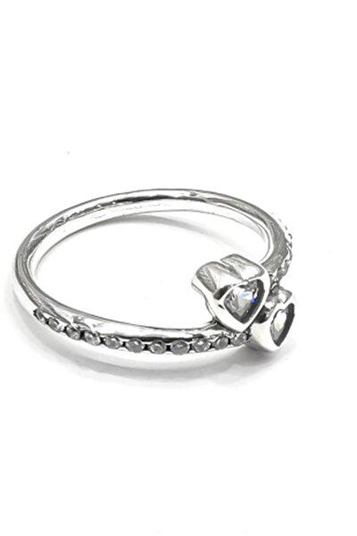 Silver Kadın Zirkon Taşlı Iki Kalpli Ithal Rodyumlu Gümüş Yüzük
