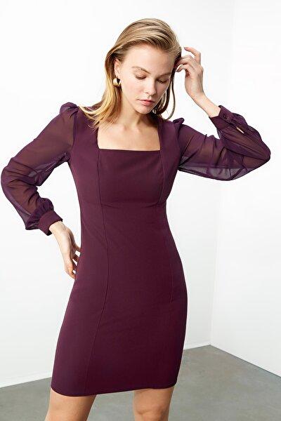 Mürdüm Kol Detaylı Elbise TWOAW20EL2059