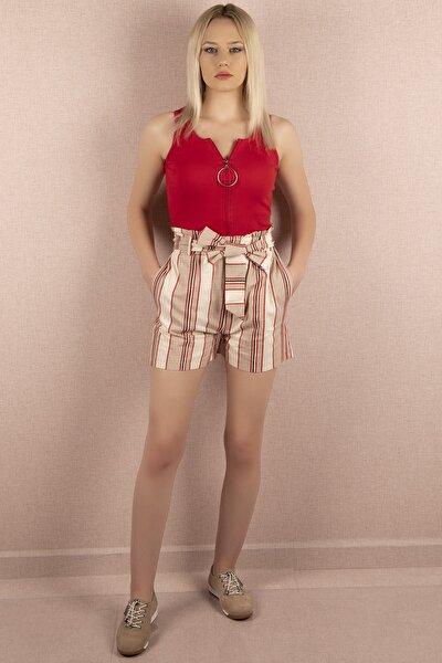 Kadın Çizgili Short