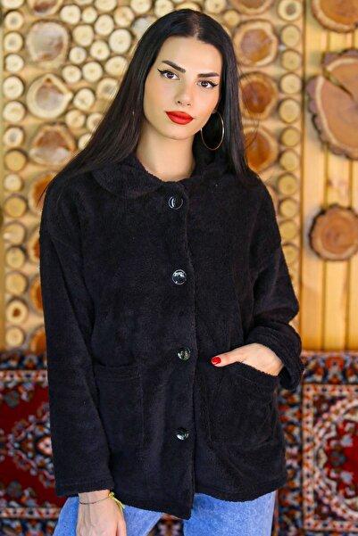 Kadın Siyah Düğmeli Peluş Mont  - 4461.1153. - Z.d