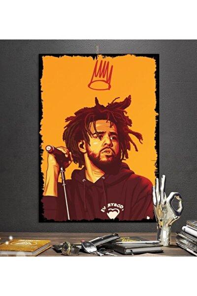 J Cole Rapper Tasarım 50x70 cm Hediyelik Dekoratif 8 mm Ahşap Tablo