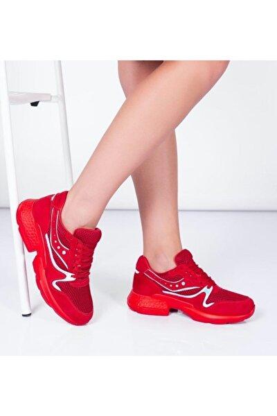 Kadın Kırmızı Bağcıklı Sneaker