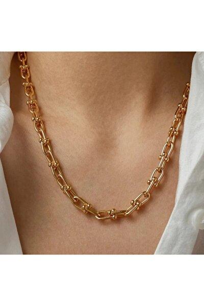 Kadın Altın Kaplama Top Uçlu Kalın Zincir Kolye Tifanny1001