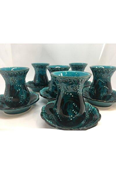 El Yapımı Turkuaz Yeşil Seramik Dekoratif Çay Bardağı Seti