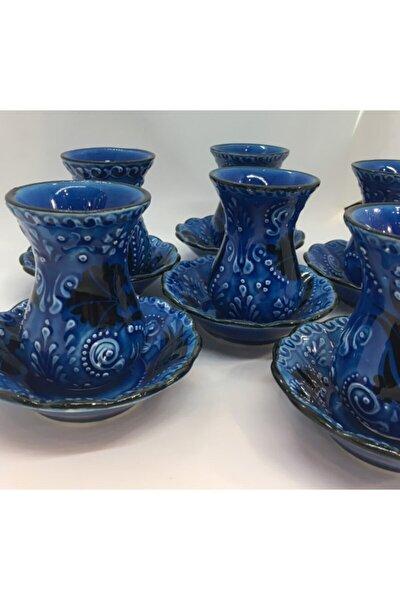 Turkuaz El Yapımı Seramik Dekoratif Çay Bardağı Seti 12 Parça