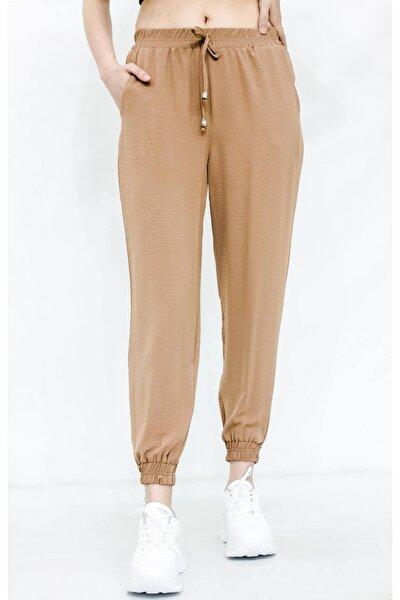 Kadın kahverengi Bel ve Paça Lastikli Pantolon
