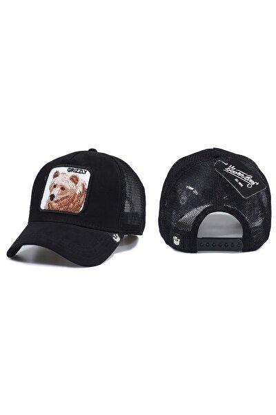 Ayı Model Hayvan Desenli Şapka Siyah