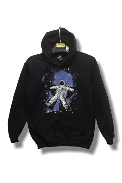 Unisex Siyah Uzay Astronot Hoodie