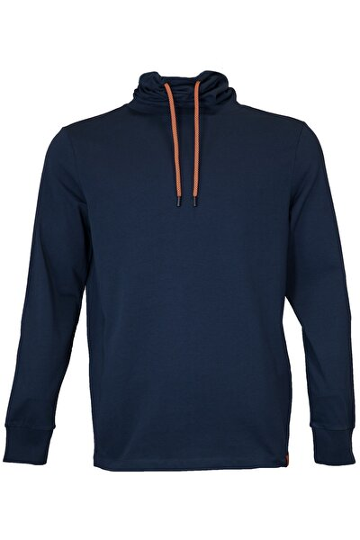 Erkek Lacivert Boğazlı Sweatshirt