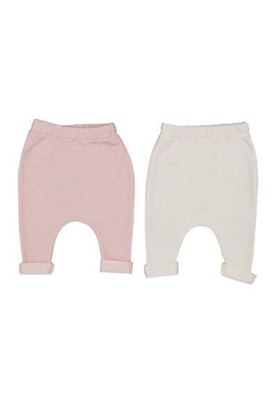 Kız Bebek Pembe Beyaz 2'li  Pantalon  14066