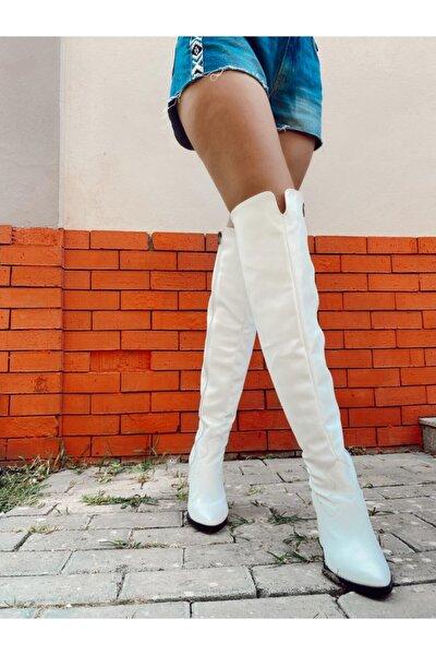 Kadın Beyaz Deri Diz Üstü Çizme