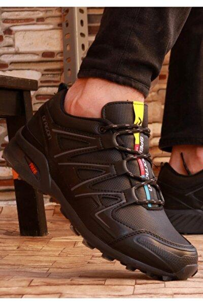 Erkek Siyah Kışlık Spor Ayakkabı Yüzeyi Kapalı Kaymaz Taban