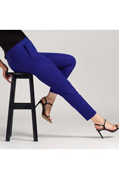 Kadın Saks Mavisi Dar Bilek Pantolon