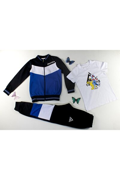 Unisex Çocuk Mavi Eşofman Takımı 3lü Set