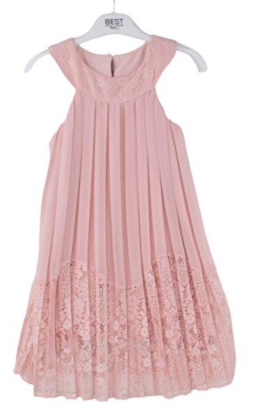 Kız Çocuk Pembe Pileli Şifon Elbise