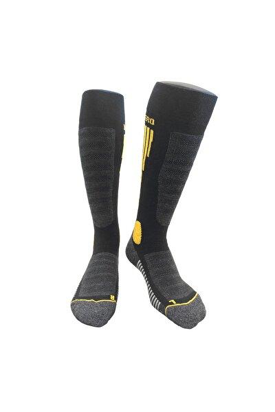 Kadın  Sarı Diz Altı Havlu Taban Yünlü 2'li Set Kayak Çorabı