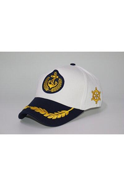 Unisex Beyaz Kaptan Şapkası