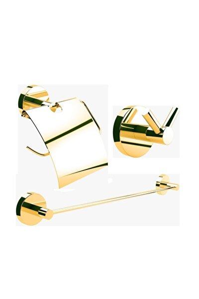 Defne Banyo Begonya Gold Banyo Seti Süper (kapaklı Kağıtlık+ikili Askılık+uzun Havluluk)