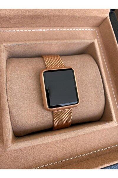 Kadın Rose Gold Klipsli Çelik Hasır Kordon Dokunmatik Ekranlı Saat