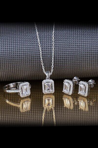 Baget Pırlanta Tasarımı Gümüş Takı Seti