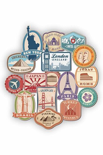 Dünya Şehirleri Temalı Laptop Notebook Kask Valiz Sticker Etiket Seti