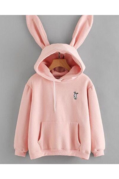 Kadın Pembe Yumoş Tavşanlı Kulaklı Sweatshirt