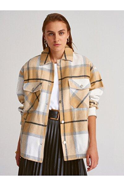 Kadın Hardal Desenli Oduncu Gömlek