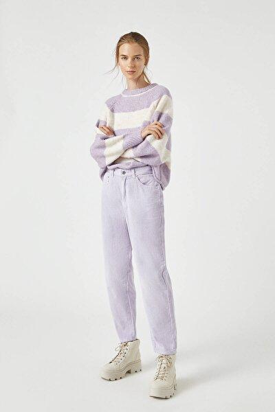 Kadın Lila Corduroy Mom Jeans 09672318