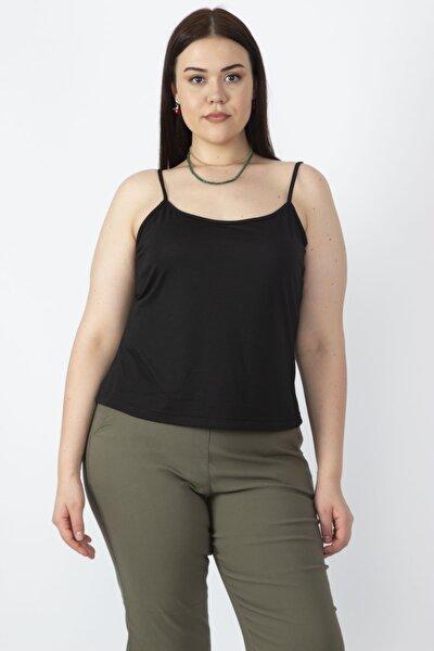 Kadın Siyah Askılı T-Shirt 65N18157
