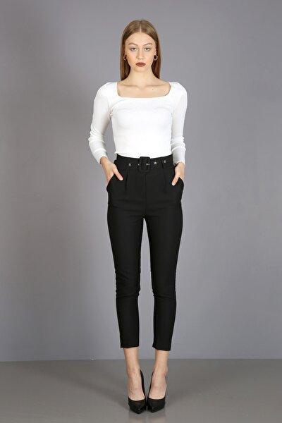 Kadın Siyah Pilesiz Kalın Kemerli Kumaş Pantolon
