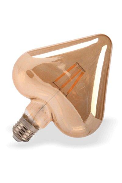 Kalp Rustik Led Ampul 6w Amber Edison Flamanlı Dekoratif Led Işık