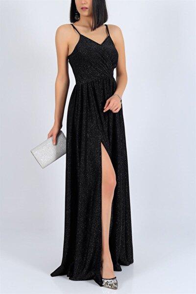 Kadın Siyah Işıltılı Kumaş Göğüs Dekolteli Yırtmaç Detaylı Uzun Siyah Abiye Elbise