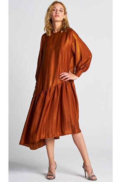 Kadın Turuncu Asimetrik Saten Elbise