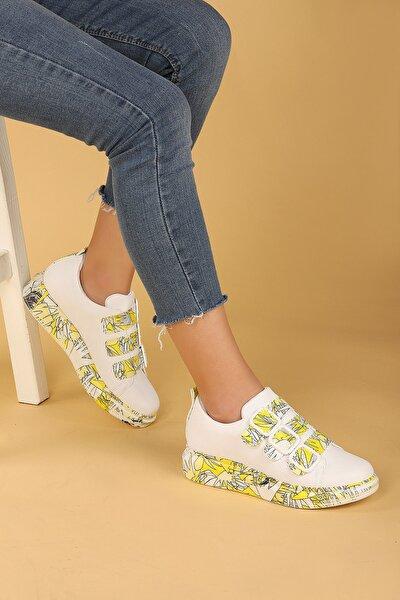 Kadın Sarı Desenli Günlük Kemerli Spor Ayakkabı
