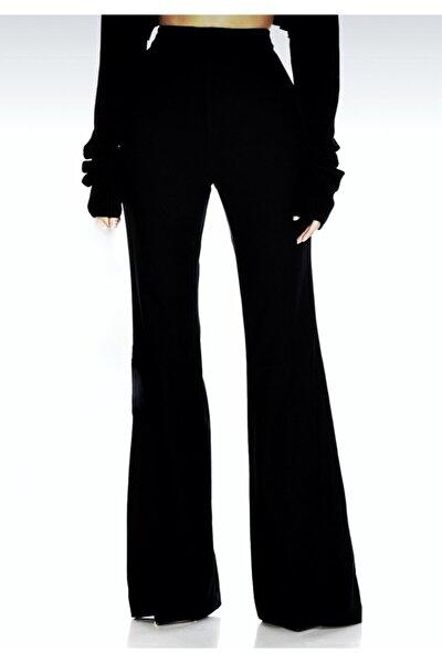 Kadın Siyah Büyük Beden İspanyol Paça Likralı Pantolon