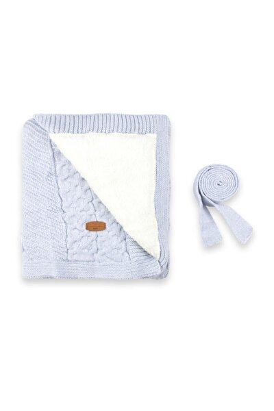 Unisex Bebek Açık Mavi İç Kısmı Welsoftlu Triko Battaniye