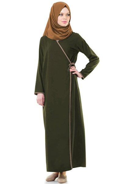 Kadın Haki Yandan Bağlamalı Elbisesi